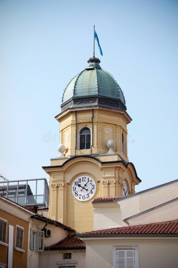 City of Rijeka. Main city clock in town of Rijeka - Croatia stock images