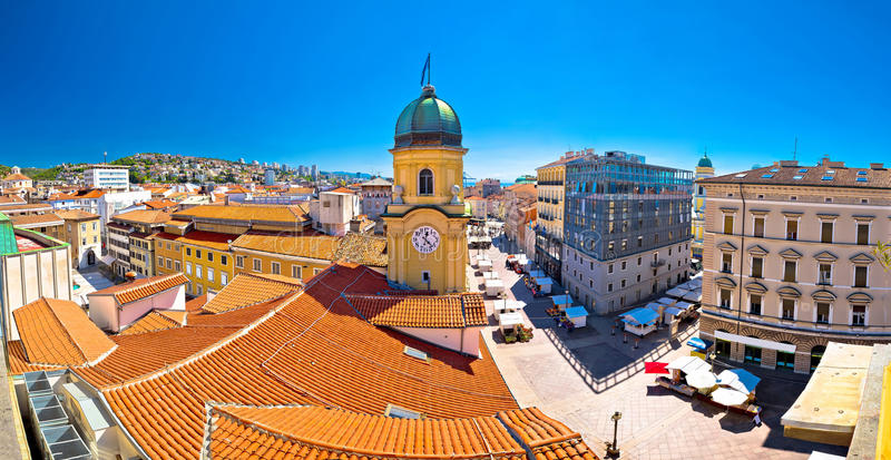 City of Rijeka clock tower and central square panorama stock image