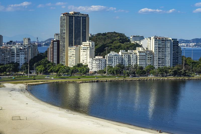 City of Rio de Janeiro, Brazil, in the background, neighborhood of Urca and Botafogo. royalty free stock photos