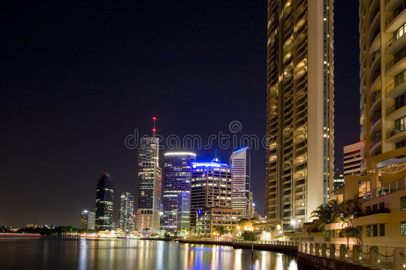 City by river stock images