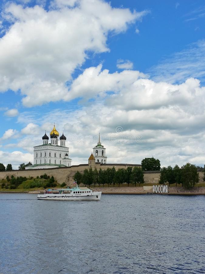 Pskov Kremlin Russian Russia temple royalty free stock photo