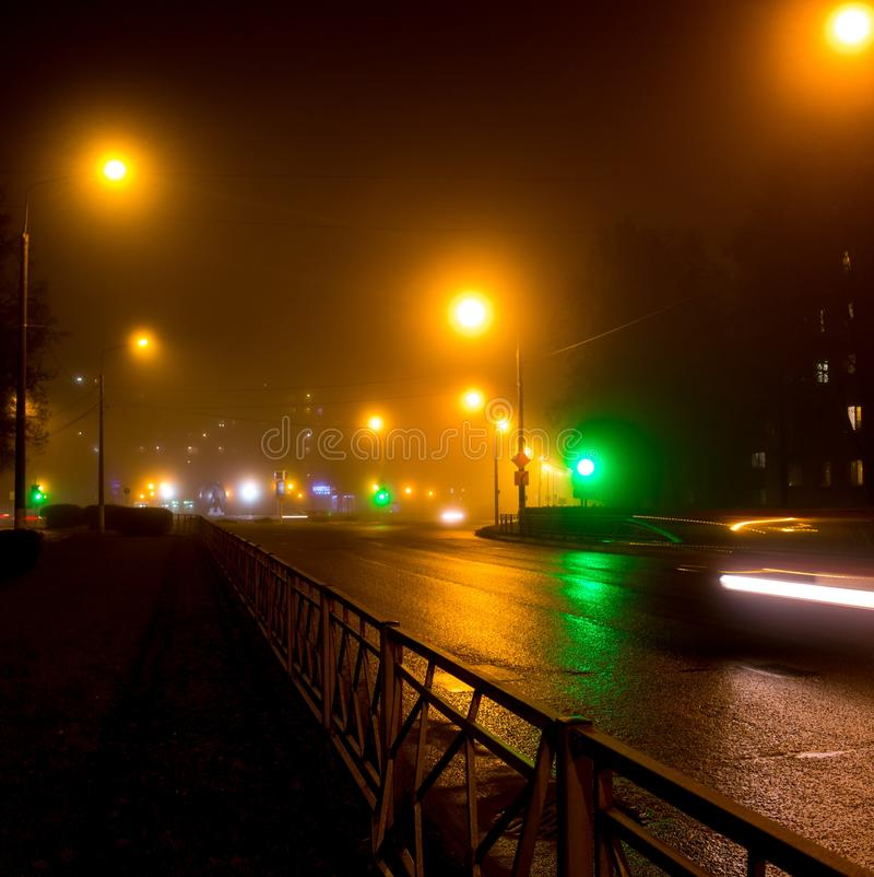 City Road Under The Light Of Dim Street Lights During A