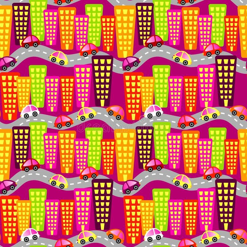 City Road ruchu drogowego Bezszwowy tło royalty ilustracja