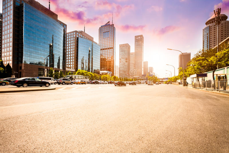 City road on sunset in Beijing royalty free stock images
