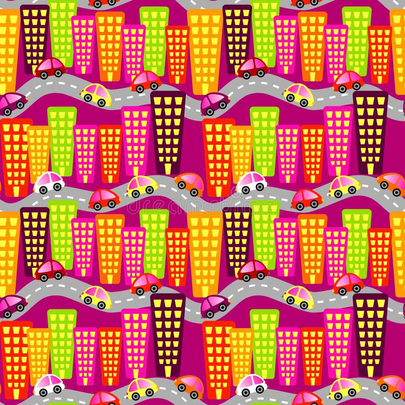 City Road Traffic Seamless Background. High traffic cars on a city dawn seamless pattern background royalty free illustration