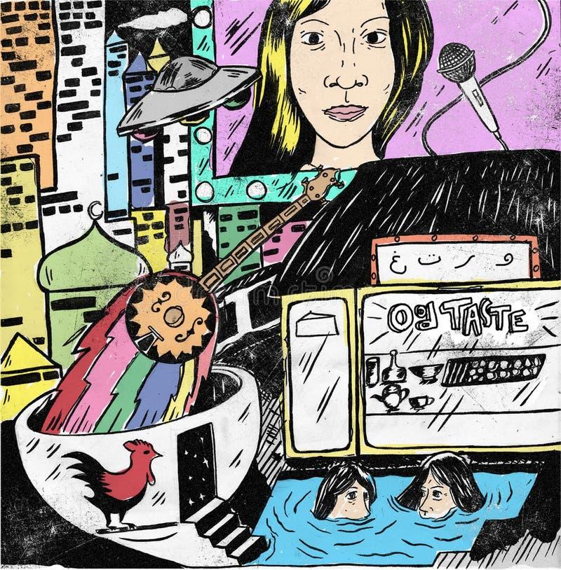 City of romance. Pop surrealism romance illustration royalty free illustration