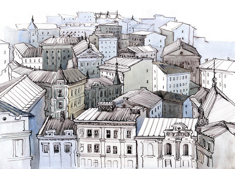 City roofs. Old city roofs architecture painting