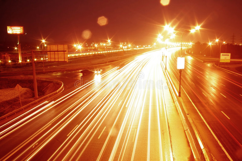 City route. Photo of city movement in Moscow with long exposure royalty free stock image