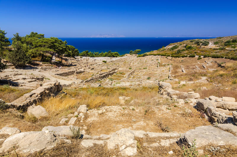 City ruins in Kamiros. Beautiful summer landscape of Rhodes island royalty free stock photography