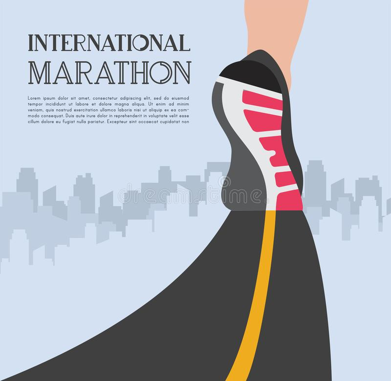 City running marathon. athlete runner feet running on road closeup on shoe in skyscraper city landscape background stock illustration