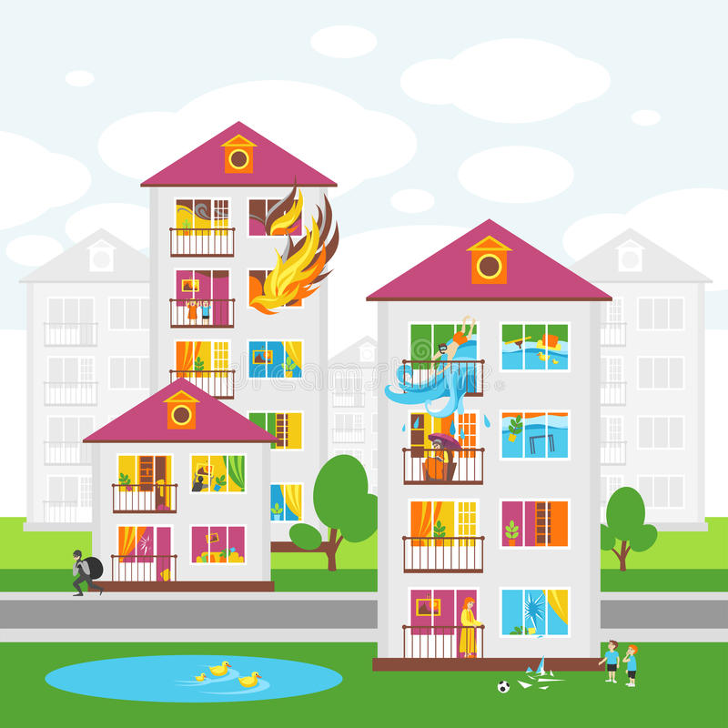 The City`s Skyline. Illustrations on the Theme of Property Insurance Against Accidents stock illustration