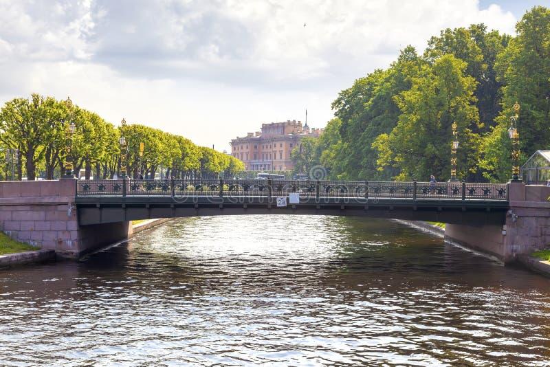 City of Saint Petersburg.2nd Garden Bridge across the river Moika stock photo