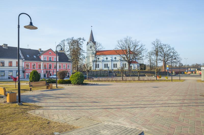 Old city center and church at Saldus, Latvia. City Saldus, Latvia. Old city center and church at Saldus, Latvia. It`s history building. 2018 City center royalty free stock image