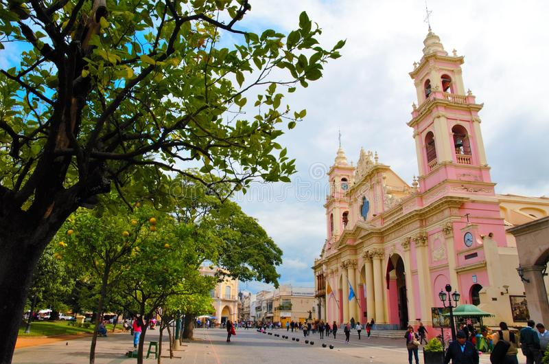 City of Salta. Long shot of one of the typical buildings in the city of Salta in Argentina, South America royalty free stock image