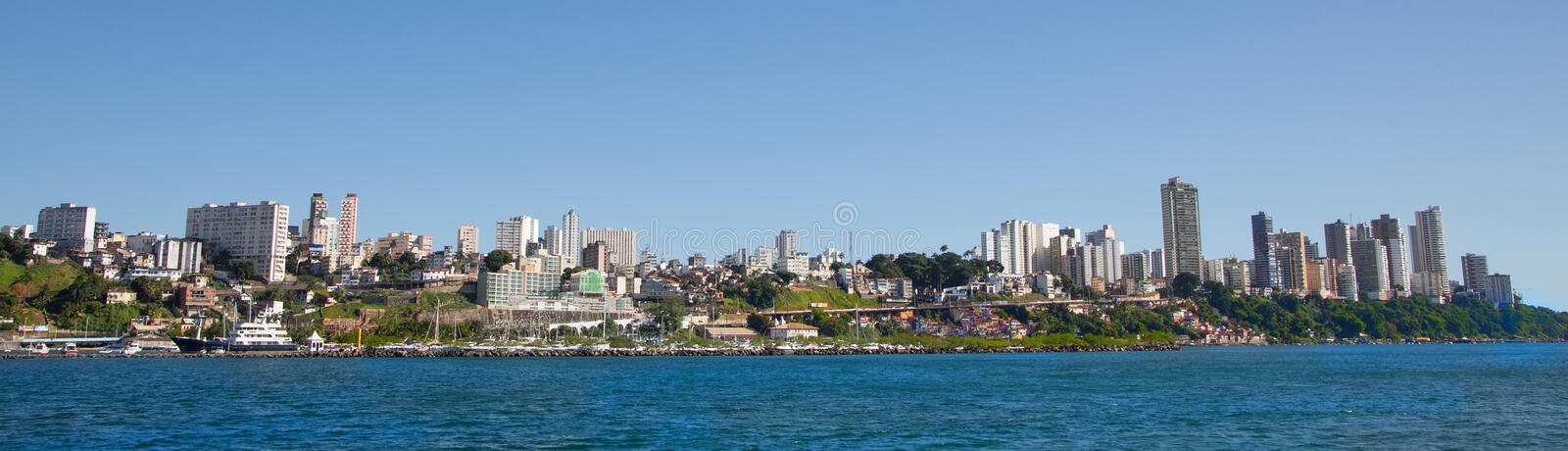 City of Salvador de Bahia in Brazil. Images from the seaside for. City of Salvador de Bahia in Brasilia. Image from the seaside for a skyline picture stock photo