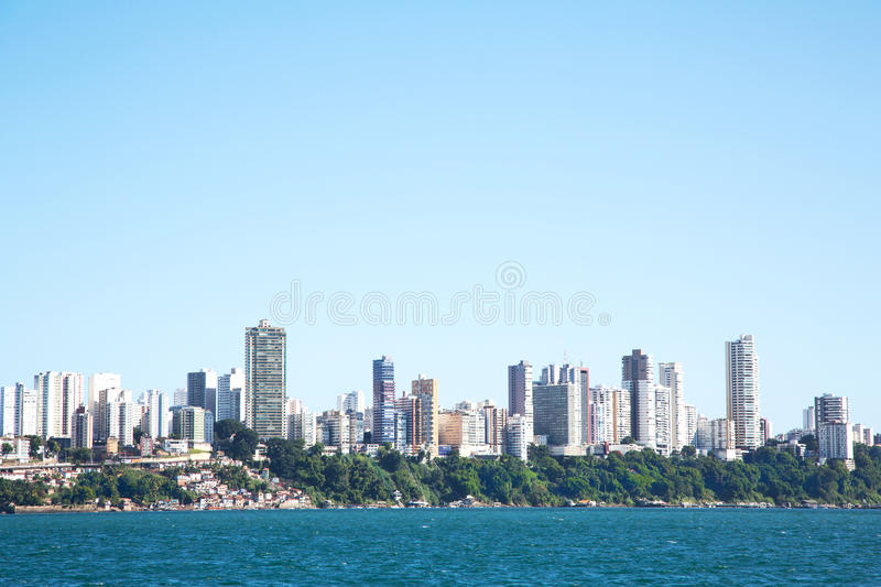 City of Salvador de Bahia in Brazil. Images from the seaside for. City of Salvador de Bahia in Brasilia. Image from the seaside for a skyline picture royalty free stock photo