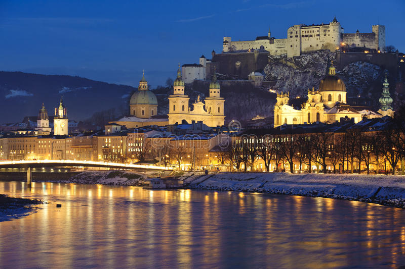 City Salzburg in austria. Panorama view of city salzburg in Austria at christmas night royalty free stock images
