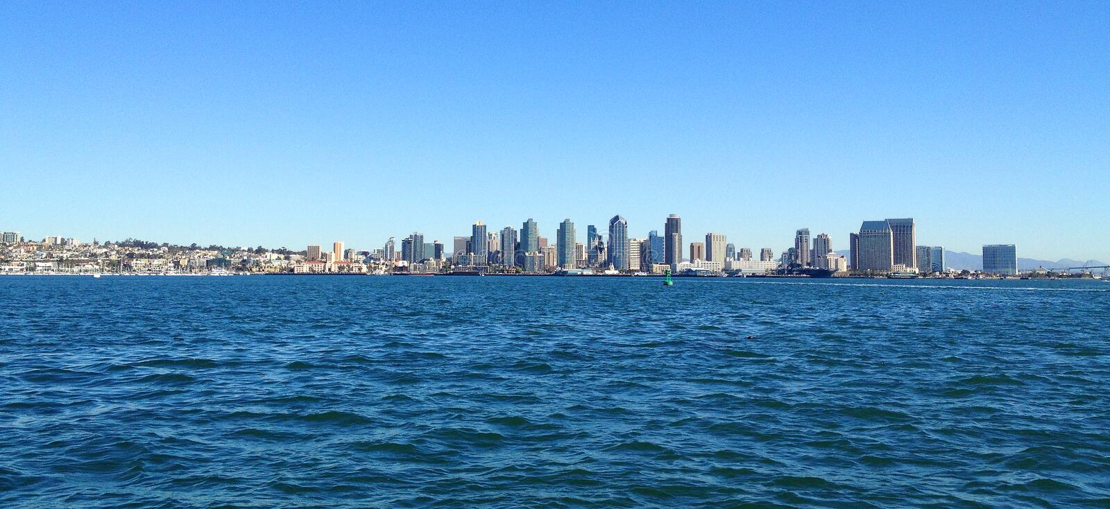 City of San Diego, California from the ocean stock images