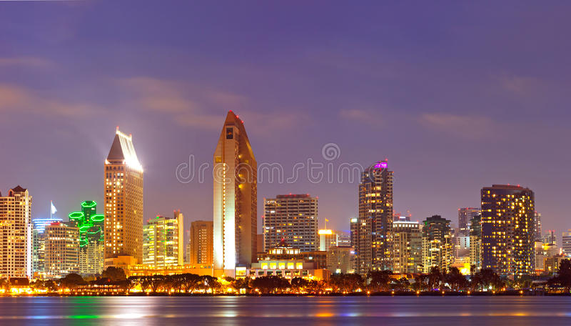 City of San Diego California sunset panorama. City of San Diego California, colorful illuminated downtown buildings sunset panorama royalty free stock photography