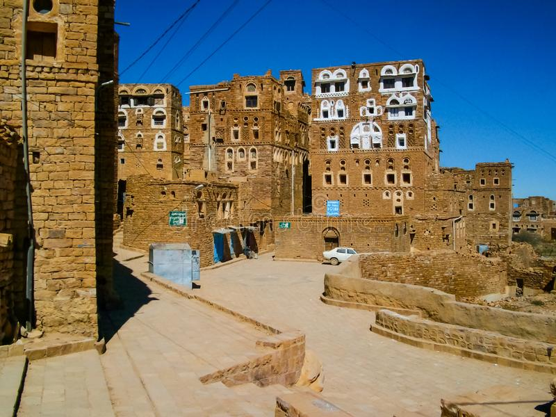 City of Sana 'a, streets and buildings of the city in Yemen royalty free stock images