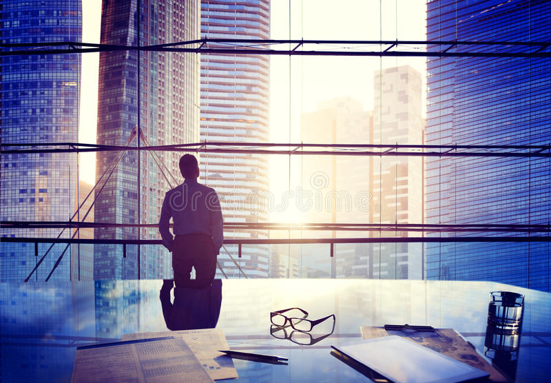 City Scape Businessman Thinking Concepts royalty free stock photos
