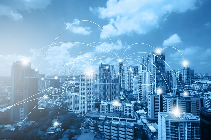 City scape of connecting dots and networking and communication royalty free stock image