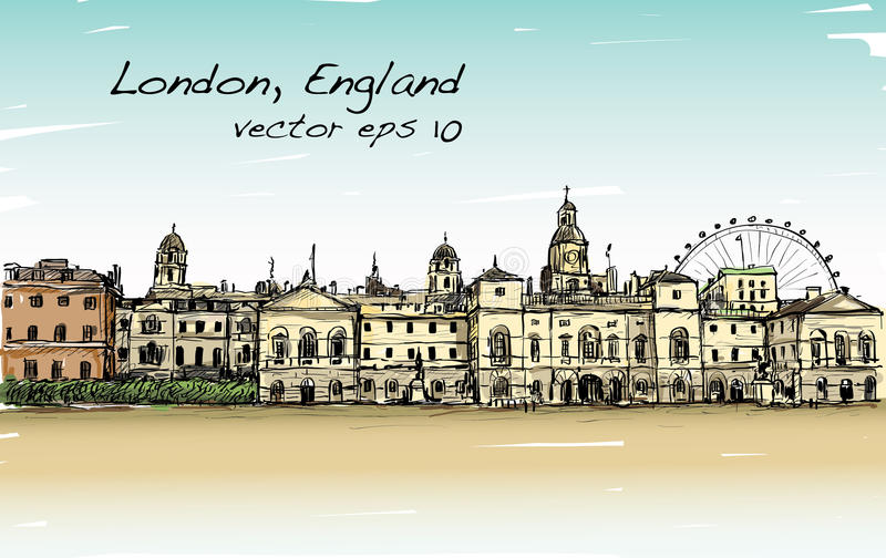 City scape drawing in London, England, show old castle stock illustration