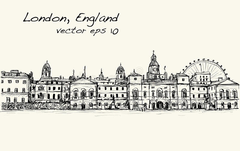 City scape drawing in London, England, show old castle royalty free illustration