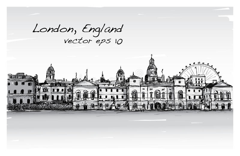 City scape drawing in London, England, show old castle vector illustration