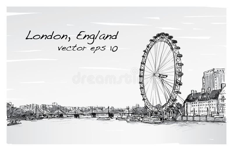 City scape drawing London eye and bridge, river, illustration vector illustration