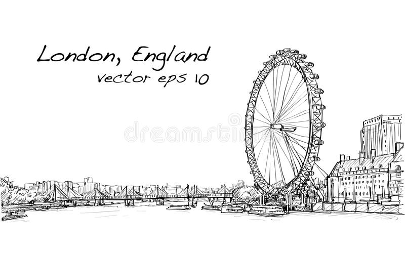 City scape drawing London eye and bridge, river, illustration royalty free illustration