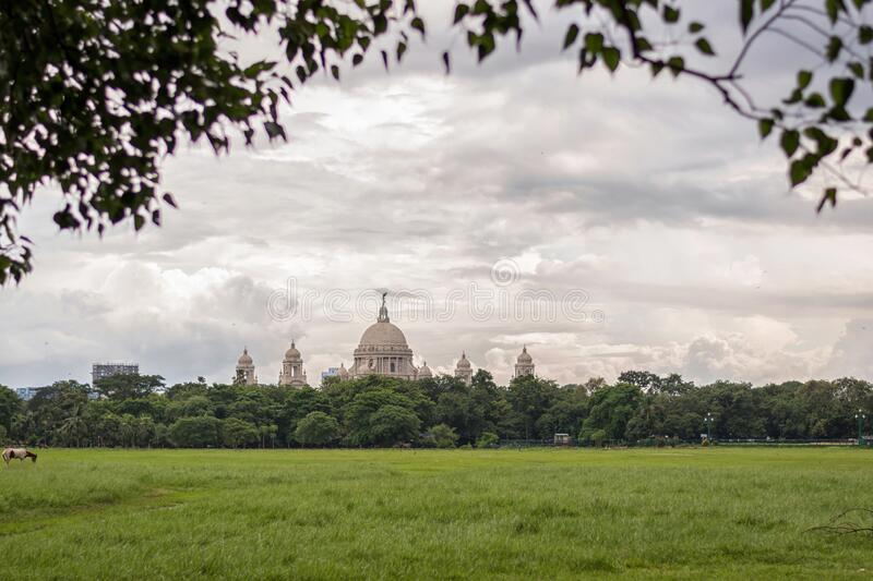 City scape horizon view of Maidan park in Kolkata Calcutta with the Victoria Memorial.  royalty free stock photography