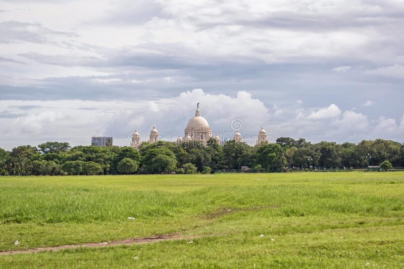 City scape horizon view of Maidan park in Kolkata Calcutta with the Victoria Memorial.  royalty free stock photos