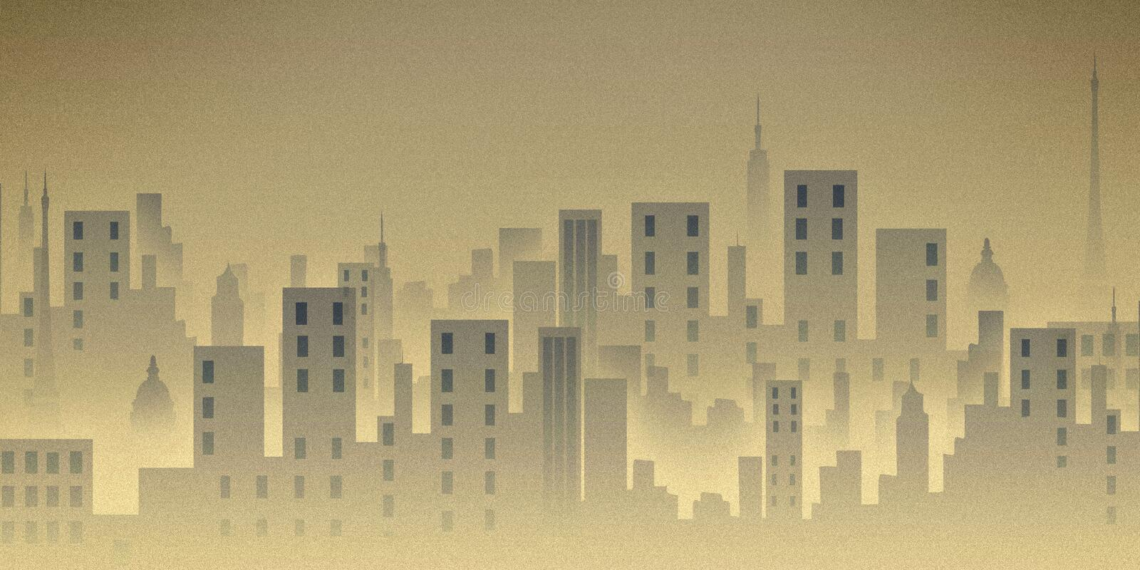 City scape, illustration, buildings. Textured city view illustration having tall buildings stock illustration