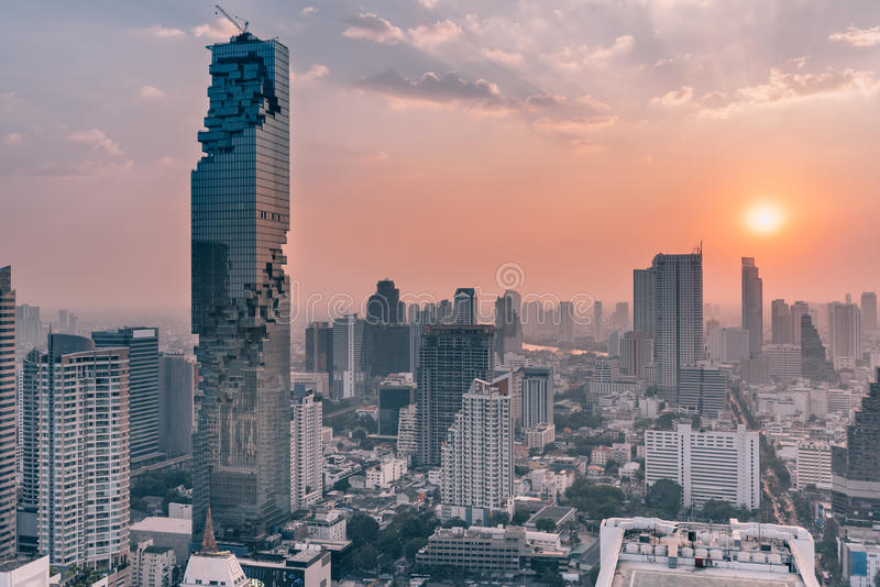 City scape of Mahanakorn tower, tallest building in Thailand. royalty free stock images