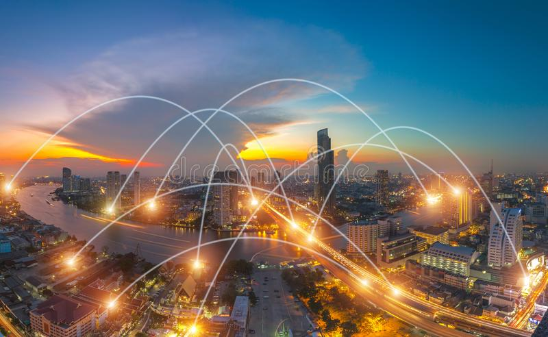 City scape and network connection concept royalty free stock images