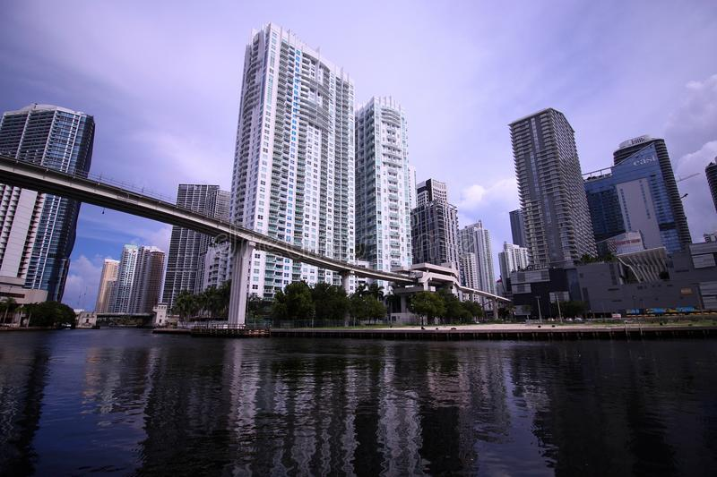City Scape Skyline of Brickell Miami Florida from the River Side stock photos