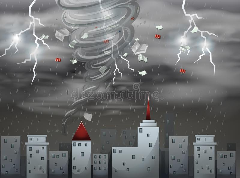 City scape tornado and storm scene royalty free illustration