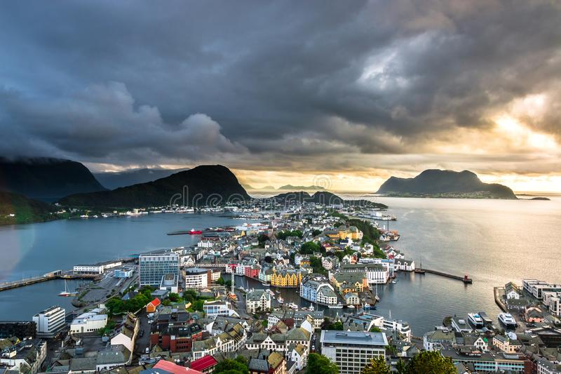 City Scene with Aerial View of Alesund Center After The Rain. Image of Alesund after the rain in Summer taken from Mount Aksla Viewpoint. Alesund is a port town royalty free stock image
