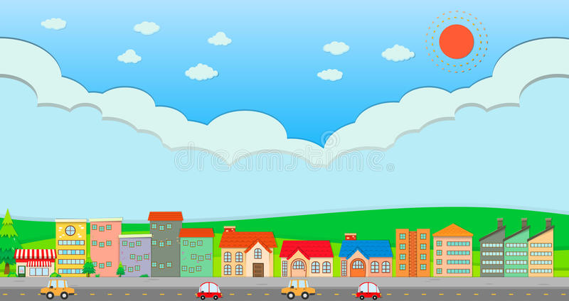 City scene at daytime. Illustration royalty free illustration
