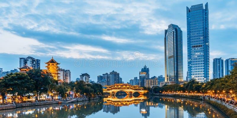 City Scenery of Anshun Bridge, Chengdu, Sichuan, China royalty free stock photos
