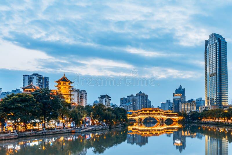 City Scenery of Anshun Bridge, Chengdu, Sichuan, China stock photo