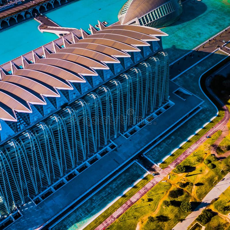 City of Science and Arts in Valencia from drone stock photography