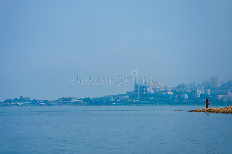 City by the sea royalty free stock photo