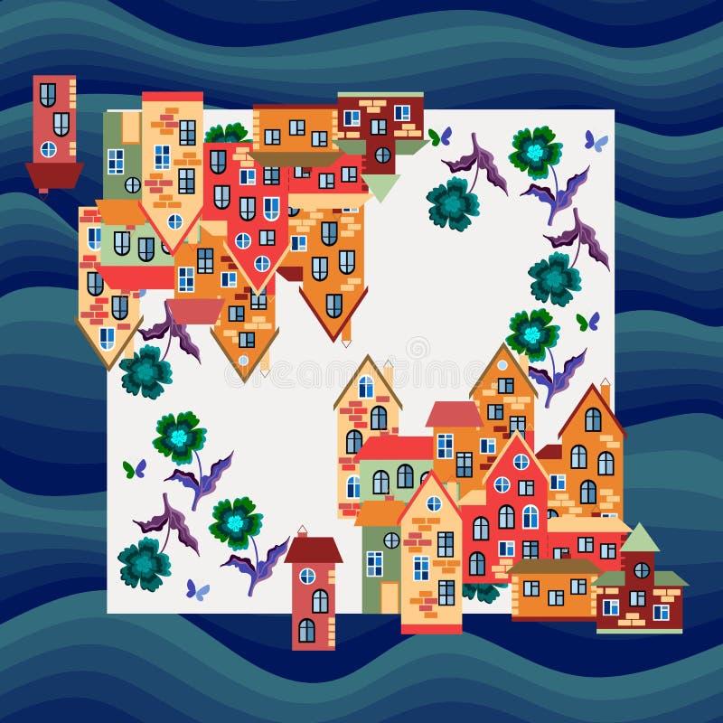 City by the sea. Silk neck scarf or bandana print. royalty free illustration