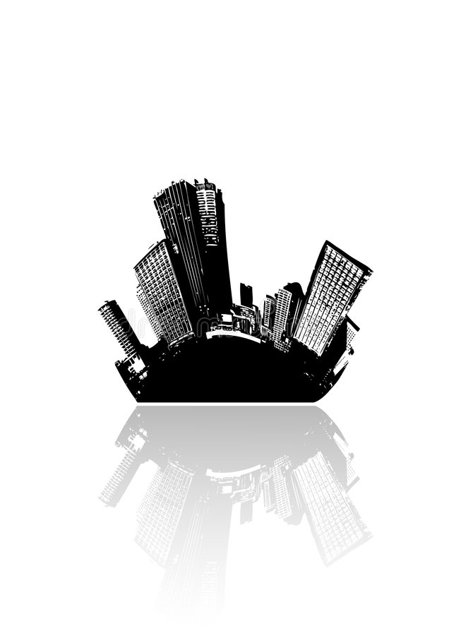 City and sea. Vector art. royalty free illustration