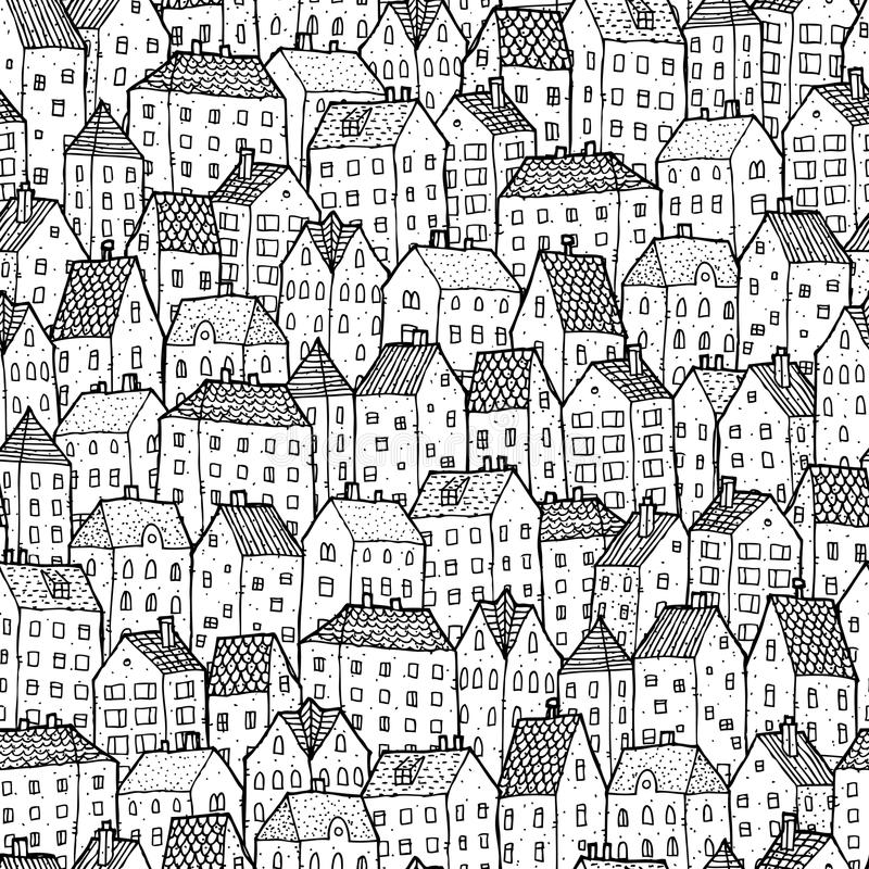 Free City Seamless Pattern In Balck And White Stock Photo - 36879570