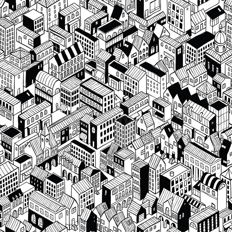 City Seamless Pattern Isometric - Medium. City Seamless Pattern is isometric doodle drawing of different building's types. Illustration is in eps8 vector mode stock illustration