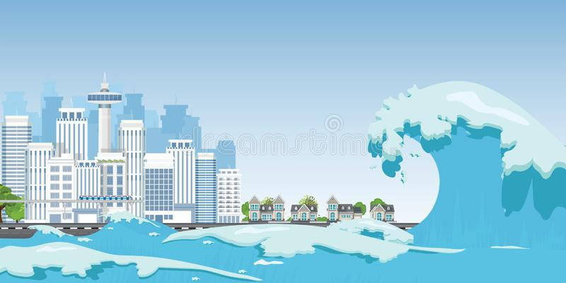 City on seashore destroyed by Tsunami waves. Natural disasters vector illustration stock illustration