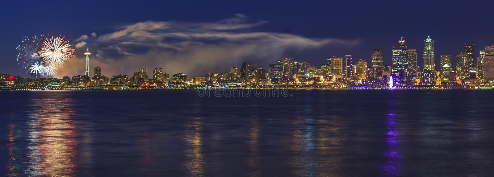 City of Seattle with fireworks. Panorama view of the City of Seattle on the Fourth of July royalty free stock photos